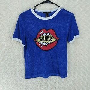 Forever 21 read my lips t shirt blue small